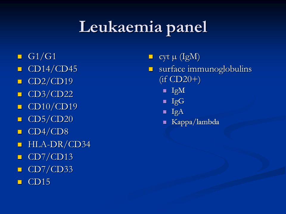 Leukaemia panel G1/G1 G1/G1 CD14/CD45 CD14/CD45 CD2/CD19 CD2/CD19 CD3/CD22 CD3/CD22 CD10/CD19 CD10/CD19 CD5/CD20 CD5/CD20 CD4/CD8 CD4/CD8 HLA-DR/CD34 HLA-DR/CD34 CD7/CD13 CD7/CD13 CD7/CD33 CD7/CD33 CD15 CD15 cyt µ (IgM) surface immunoglobulins (if CD20+) IgM IgG IgA Kappa/lambda