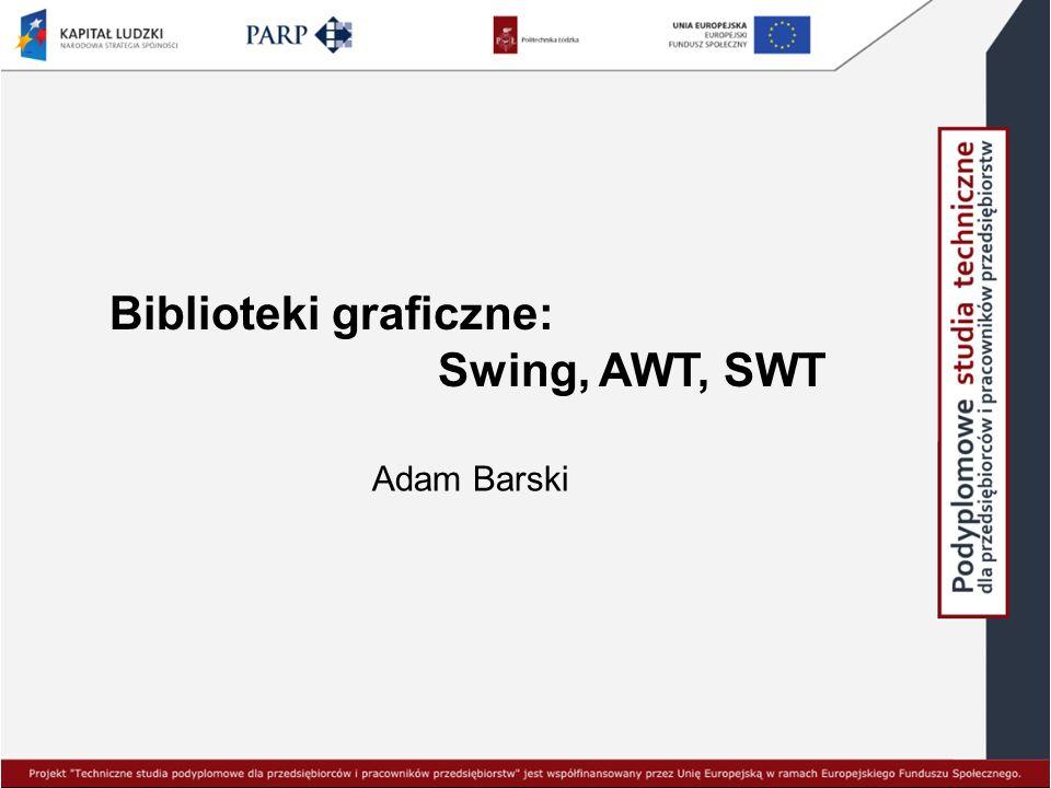 Biblioteki graficzne: Swing, AWT, SWT Adam Barski