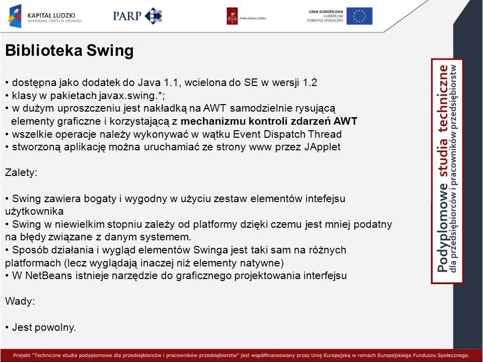 Biblioteka Swing dostępna jako dodatek do Java 1.1, wcielona do SE w wersji 1.2 klasy w pakietach javax.swing.*; w dużym uproszczeniu jest nakładką na