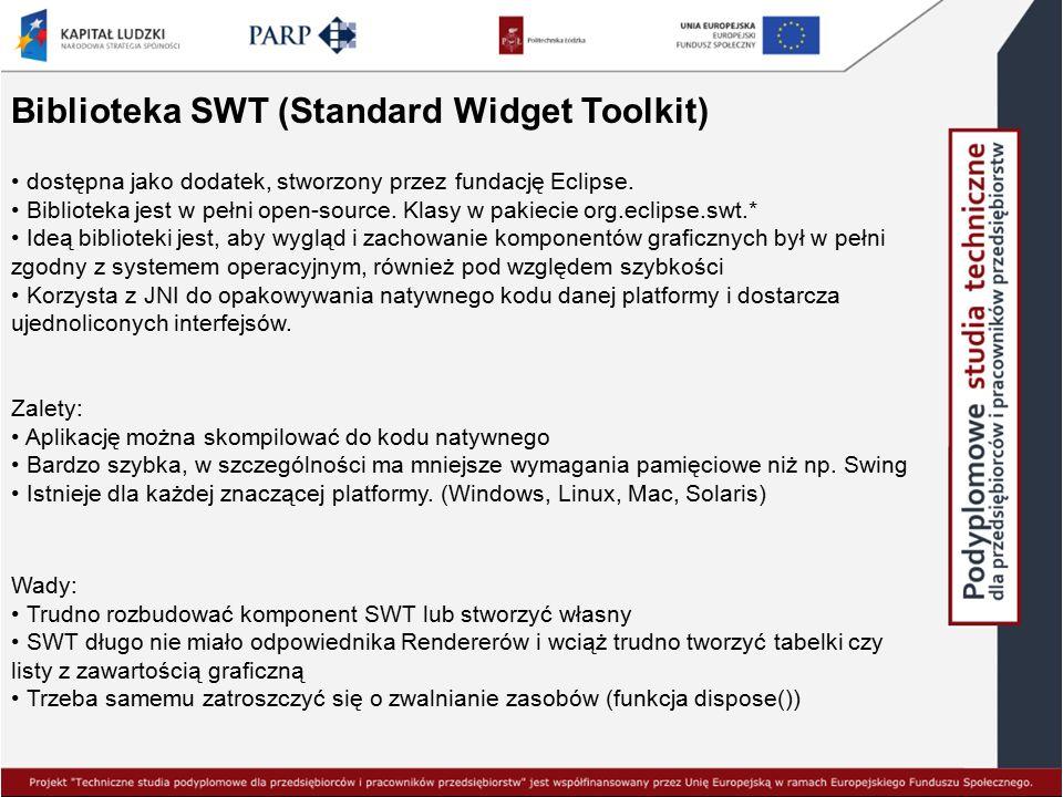 Biblioteka SWT (Standard Widget Toolkit) dostępna jako dodatek, stworzony przez fundację Eclipse. Biblioteka jest w pełni open-source. Klasy w pakieci