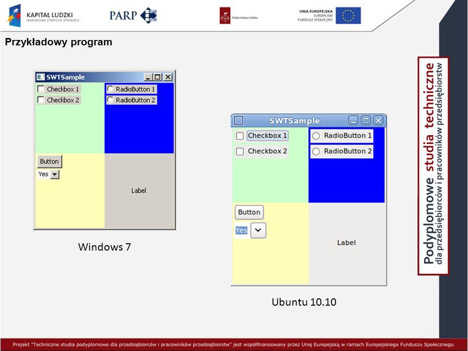 Przykładowy program Windows 7 Ubuntu 10.10
