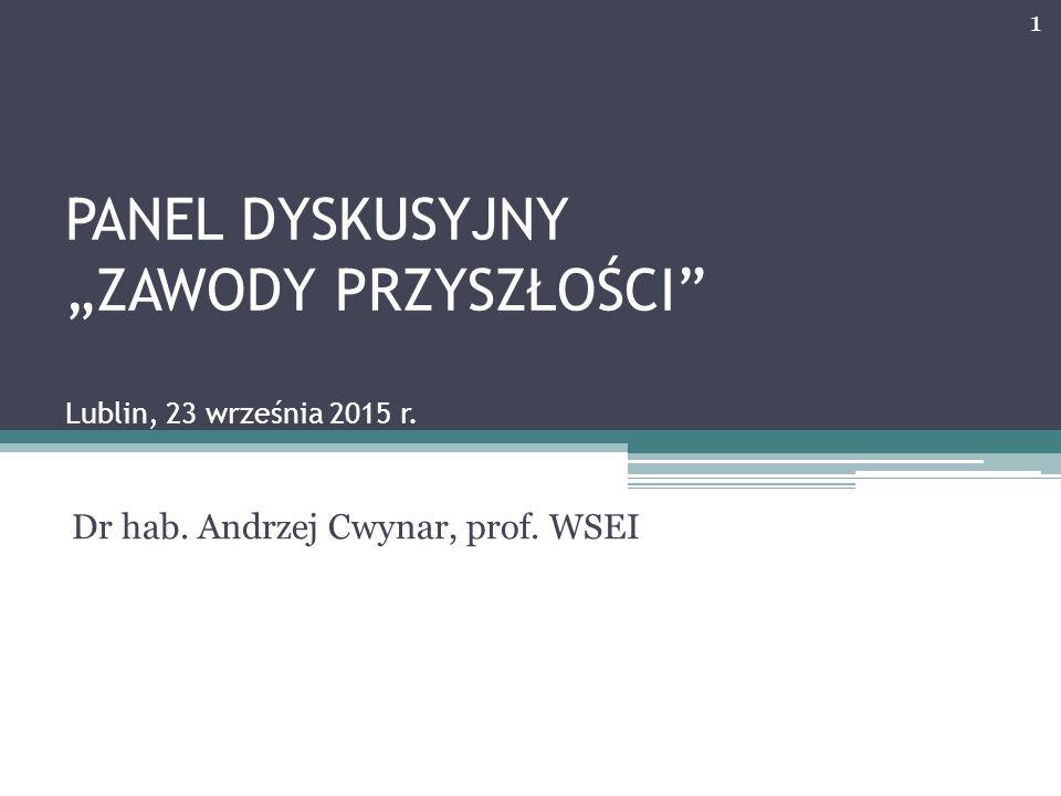 """PANEL DYSKUSYJNY """"ZAWODY PRZYSZŁOŚCI"""" Lublin, 23 września 2015 r. Dr hab. Andrzej Cwynar, prof. WSEI 1"""