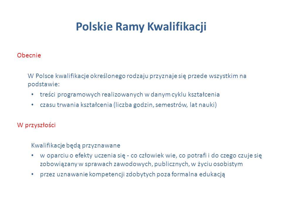 Polskie Ramy Kwalifikacji Obecnie W Polsce kwalifikacje określonego rodzaju przyznaje się przede wszystkim na podstawie: treści programowych realizowanych w danym cyklu kształcenia czasu trwania kształcenia (liczba godzin, semestrów, lat nauki) W przyszłości Kwalifikacje będą przyznawane w oparciu o efekty uczenia się - co człowiek wie, co potrafi i do czego czuje się zobowiązany w sprawach zawodowych, publicznych, w życiu osobistym przez uznawanie kompetencji zdobytych poza formalna edukacją