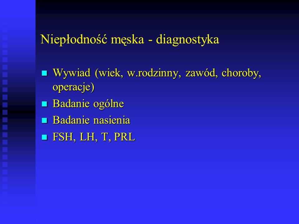 Niepłodność męska - diagnostyka Wywiad (wiek, w.rodzinny, zawód, choroby, operacje) Wywiad (wiek, w.rodzinny, zawód, choroby, operacje) Badanie ogólne