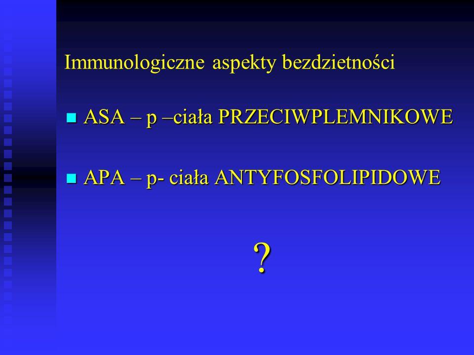 Immunologiczne aspekty bezdzietności ASA – p –ciała PRZECIWPLEMNIKOWE ASA – p –ciała PRZECIWPLEMNIKOWE APA – p- ciała ANTYFOSFOLIPIDOWE APA – p- ciała