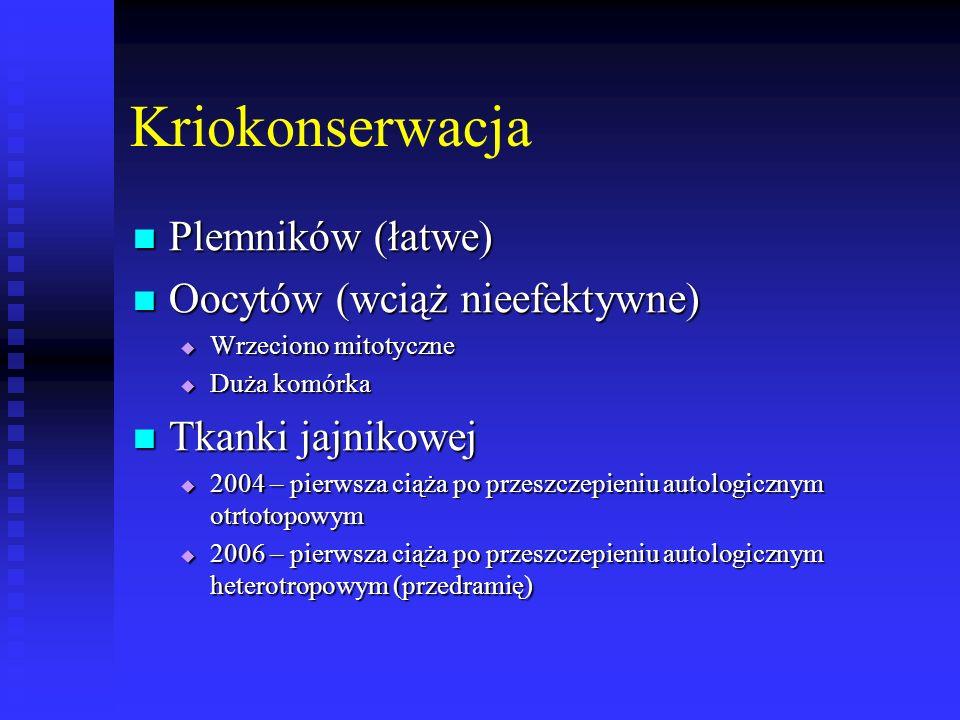 Kriokonserwacja Plemników (łatwe) Plemników (łatwe) Oocytów (wciąż nieefektywne) Oocytów (wciąż nieefektywne)  Wrzeciono mitotyczne  Duża komórka Tk