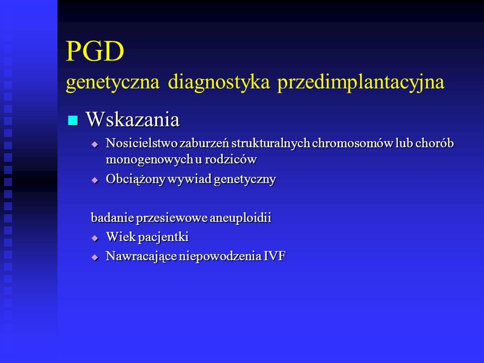 PGD genetyczna diagnostyka przedimplantacyjna Wskazania Wskazania  Nosicielstwo zaburzeń strukturalnych chromosomów lub chorób monogenowych u rodzicó