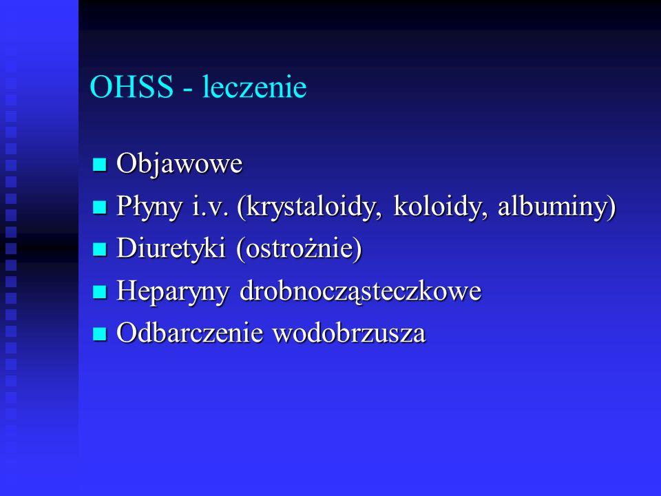 OHSS - leczenie Objawowe Objawowe Płyny i.v. (krystaloidy, koloidy, albuminy) Płyny i.v. (krystaloidy, koloidy, albuminy) Diuretyki (ostrożnie) Diuret