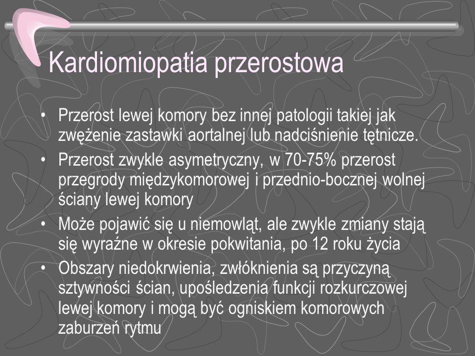 Kardiomiopatia przerostowa Przerost lewej komory bez innej patologii takiej jak zwężenie zastawki aortalnej lub nadciśnienie tętnicze. Przerost zwykle