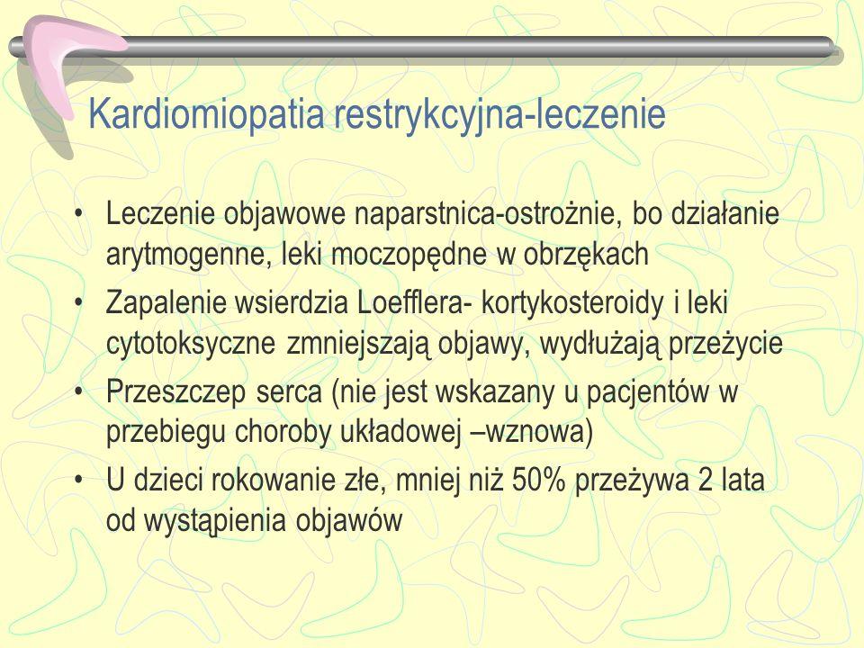 Kardiomiopatia restrykcyjna-leczenie Leczenie objawowe naparstnica-ostrożnie, bo działanie arytmogenne, leki moczopędne w obrzękach Zapalenie wsierdzi