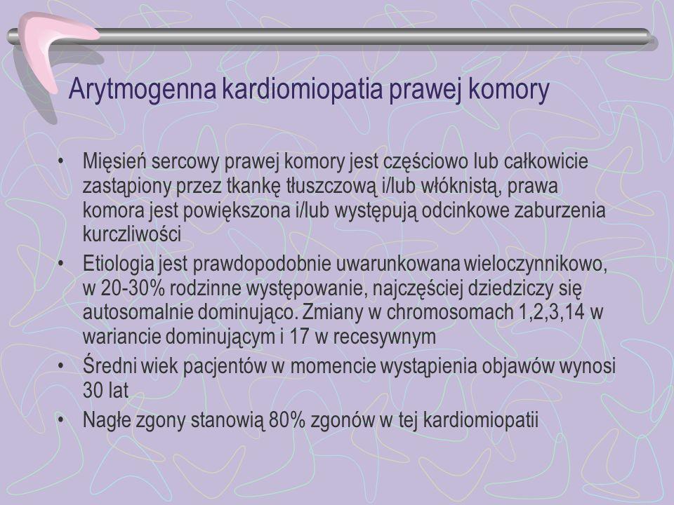 Arytmogenna kardiomiopatia prawej komory Mięsień sercowy prawej komory jest częściowo lub całkowicie zastąpiony przez tkankę tłuszczową i/lub włóknist