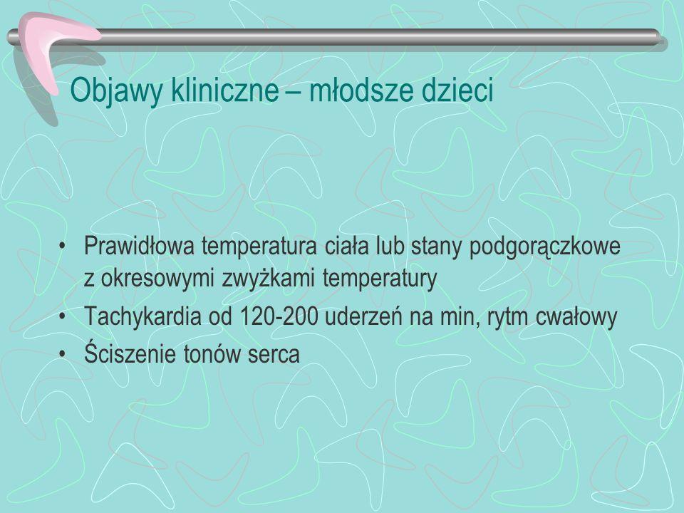 Objawy kliniczne – młodsze dzieci Prawidłowa temperatura ciała lub stany podgorączkowe z okresowymi zwyżkami temperatury Tachykardia od 120-200 uderze