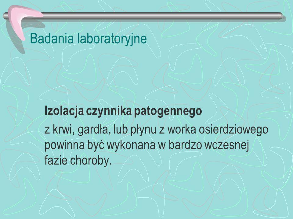 Badania laboratoryjne Izolacja czynnika patogennego z krwi, gardła, lub płynu z worka osierdziowego powinna być wykonana w bardzo wczesnej fazie choro