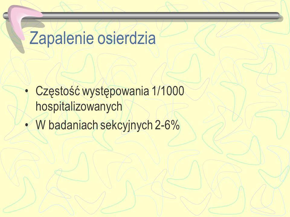 Zapalenie osierdzia Częstość występowania 1/1000 hospitalizowanych W badaniach sekcyjnych 2-6%