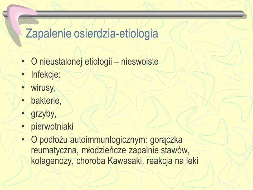 Zapalenie osierdzia-etiologia O nieustalonej etiologii – nieswoiste Infekcje: wirusy, bakterie, grzyby, pierwotniaki O podłożu autoimmunlogicznym: gor