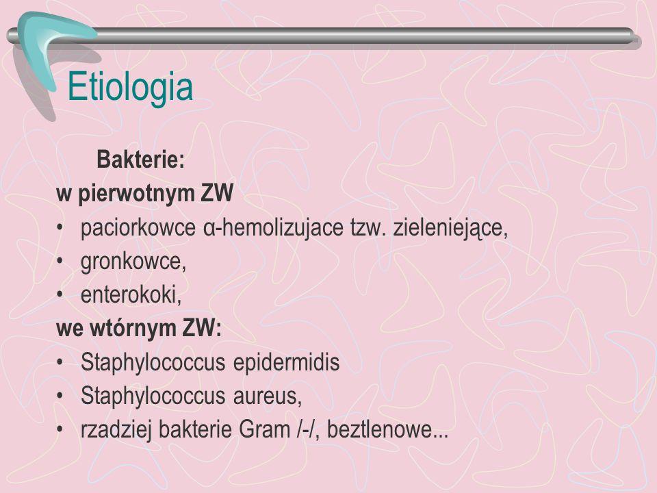 Etiologia Bakterie: w pierwotnym ZW paciorkowce α-hemolizujace tzw. zieleniejące, gronkowce, enterokoki, we wtórnym ZW: Staphylococcus epidermidis Sta