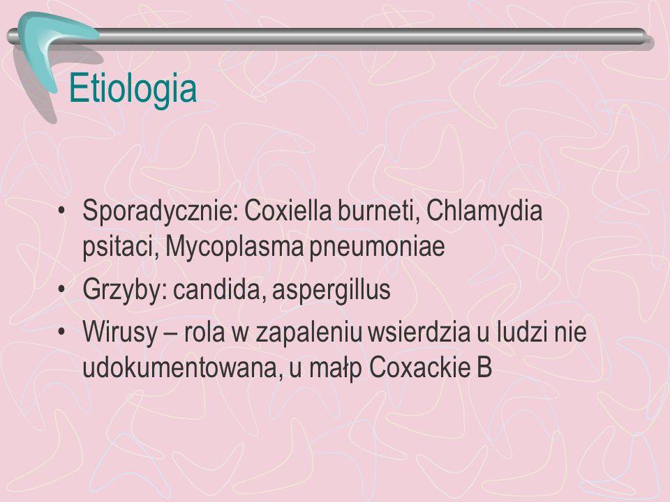 Etiologia Sporadycznie: Coxiella burneti, Chlamydia psitaci, Mycoplasma pneumoniae Grzyby: candida, aspergillus Wirusy – rola w zapaleniu wsierdzia u