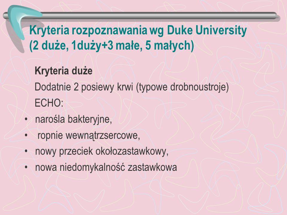Kryteria rozpoznawania wg Duke University (2 duże, 1duży+3 małe, 5 małych) Kryteria duże Dodatnie 2 posiewy krwi (typowe drobnoustroje) ECHO: narośla