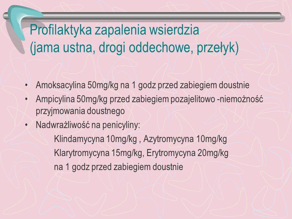 Profilaktyka zapalenia wsierdzia (jama ustna, drogi oddechowe, przełyk) Amoksacylina 50mg/kg na 1 godz przed zabiegiem doustnie Ampicylina 50mg/kg prz