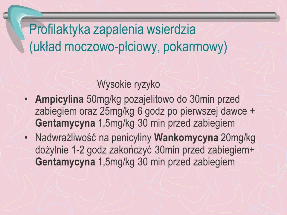Profilaktyka zapalenia wsierdzia (układ moczowo-płciowy, pokarmowy) Wysokie ryzyko Ampicylina 50mg/kg pozajelitowo do 30min przed zabiegiem oraz 25mg/