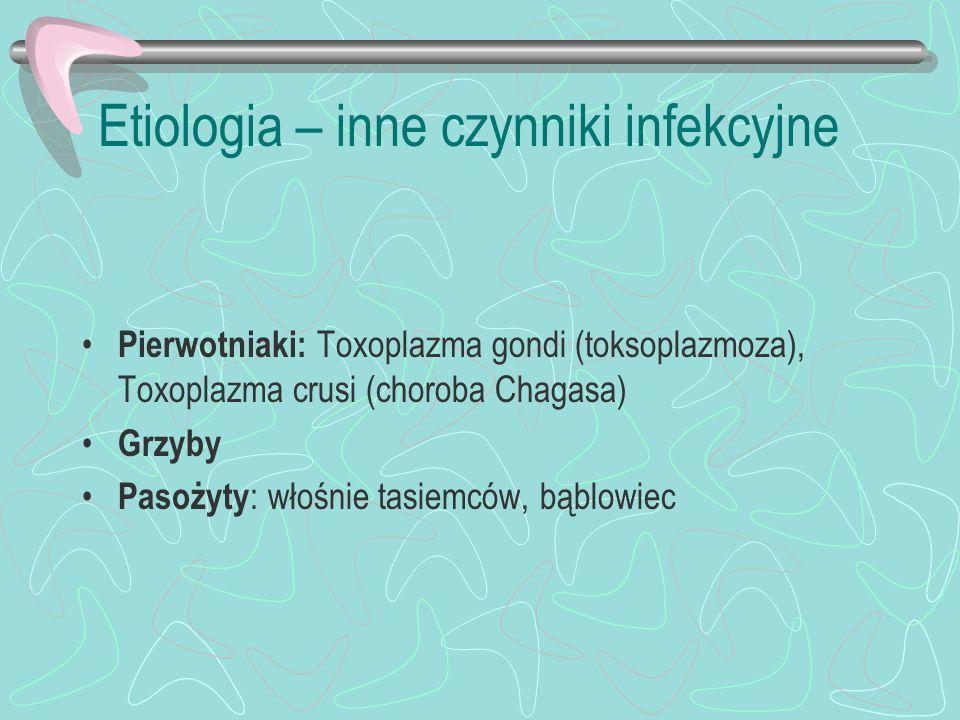 Etiologia – inne czynniki infekcyjne Pierwotniaki: Toxoplazma gondi (toksoplazmoza), Toxoplazma crusi (choroba Chagasa) Grzyby Pasożyty : włośnie tasi