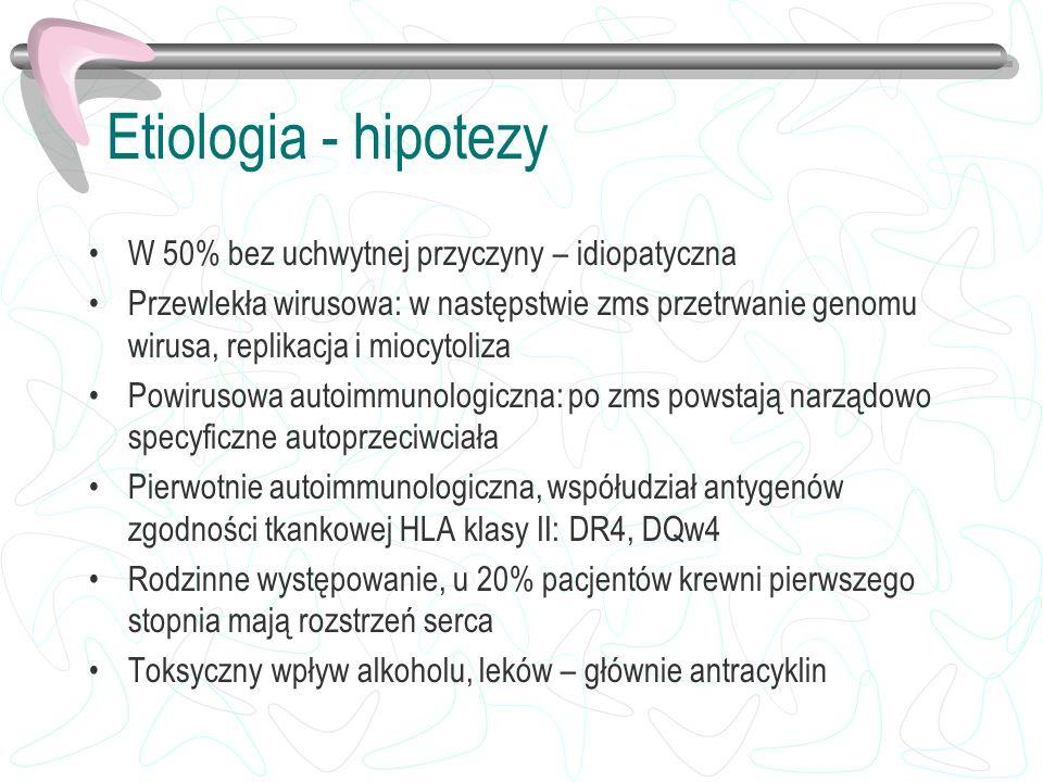 Etiologia - hipotezy W 50% bez uchwytnej przyczyny – idiopatyczna Przewlekła wirusowa: w następstwie zms przetrwanie genomu wirusa, replikacja i miocy