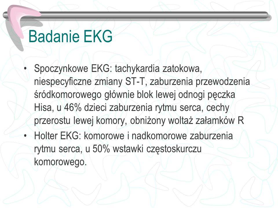 Badanie EKG Spoczynkowe EKG: tachykardia zatokowa, niespecyficzne zmiany ST-T, zaburzenia przewodzenia śródkomorowego głównie blok lewej odnogi pęczka