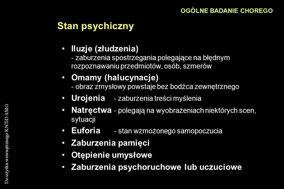 Do użytku wewnętrznego KNTiD AMG Stan psychiczny Iluzje (złudzenia) - zaburzenia spostrzegania polegające na błędnym rozpoznawaniu przedmiotów, osób,