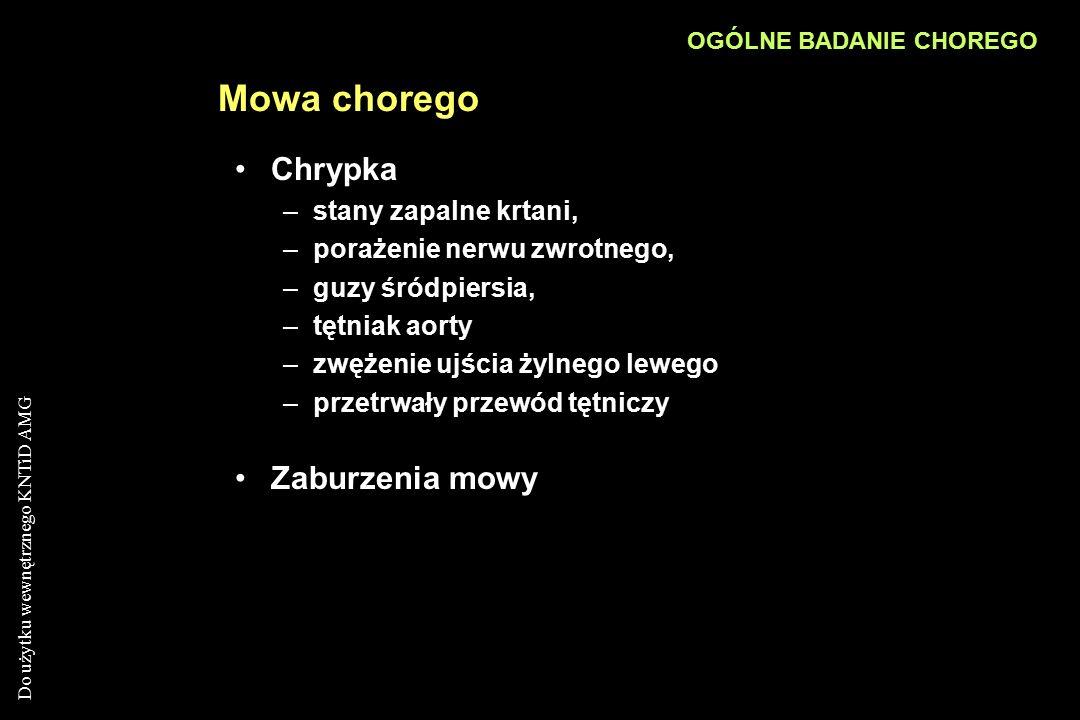 Do użytku wewnętrznego KNTiD AMG Mowa chorego Chrypka –stany zapalne krtani, –porażenie nerwu zwrotnego, –guzy śródpiersia, –tętniak aorty –zwężenie u