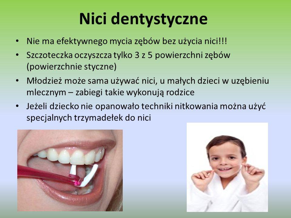 Nici dentystyczne Nie ma efektywnego mycia zębów bez użycia nici!!.