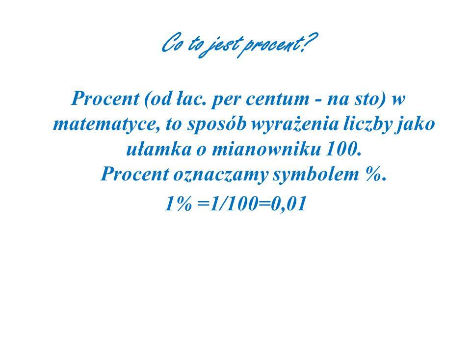 Co to jest procent.Procent (od łac.