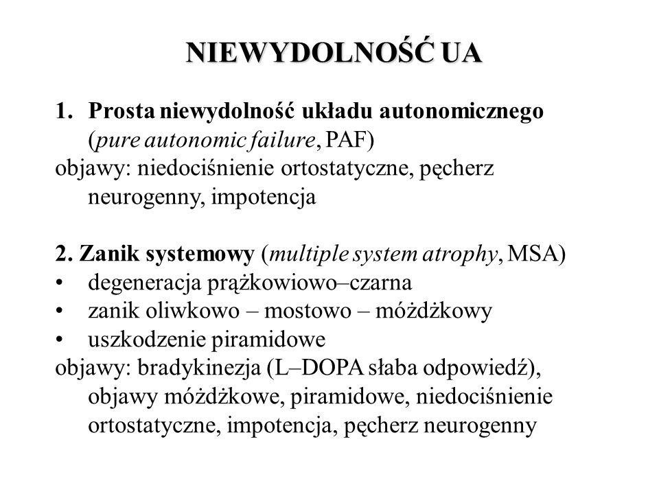 NIEWYDOLNOŚĆ UA 1.Prosta niewydolność układu autonomicznego (pure autonomic failure, PAF) objawy: niedociśnienie ortostatyczne, pęcherz neurogenny, impotencja 2.