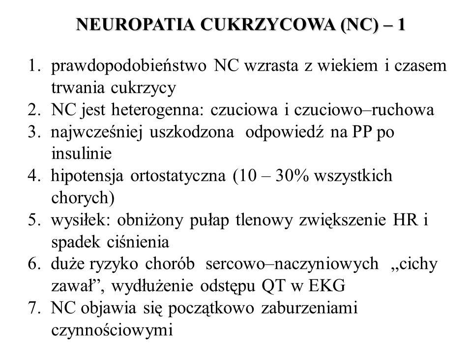 NEUROPATIA CUKRZYCOWA (NC) – 1 1.prawdopodobieństwo NC wzrasta z wiekiem i czasem trwania cukrzycy 2.NC jest heterogenna: czuciowa i czuciowo–ruchowa