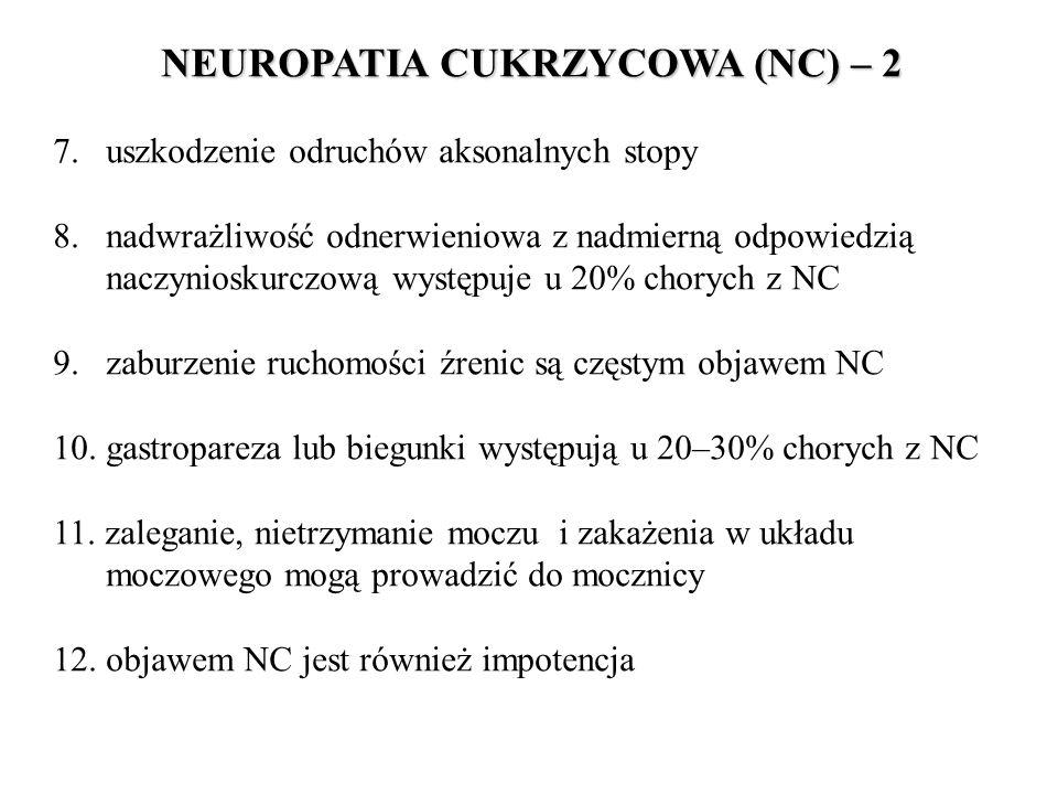 NEUROPATIA CUKRZYCOWA (NC) – 2 7. uszkodzenie odruchów aksonalnych stopy 8. nadwrażliwość odnerwieniowa z nadmierną odpowiedzią naczynioskurczową wyst
