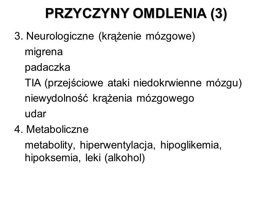 PRZYCZYNY OMDLENIA (3) 3. Neurologiczne (krążenie mózgowe) migrena padaczka TIA (przejściowe ataki niedokrwienne mózgu) niewydolność krążenia mózgoweg