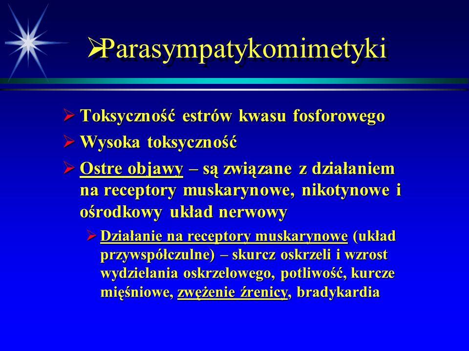 """ Parasympatykomimetyki  Toksyczność  Szczególnie ważne ze względu na przypadkowe lub celowe (np. próby """"s"""") zatrucia"""