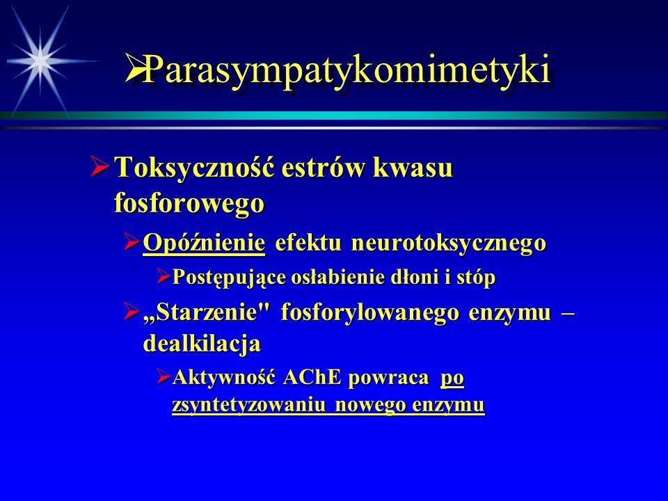  Parasympatykomimetyki  Toksyczność estrów kwasu fosforowego  Działanie na receptory nikotynowe (zwojowe i płytki nerwowo-mięśniowej) - nużliwość,
