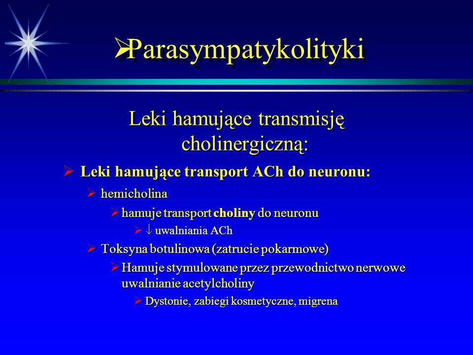 Parasympatykomimetyki  Leczenie – specyficzne wobec zatrucia estrami kwasu fosforowego  Znajomość objawów jest kluczowa dla szybkiego rozpoznania