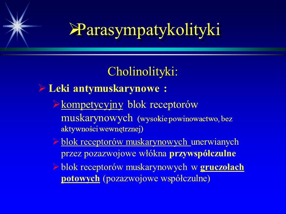  Parasympatykolityki Leki hamujące transmisję cholinergiczną:  Leki hamujące transport ACh do neuronu:  hemicholina  hamuje transport choliny do n