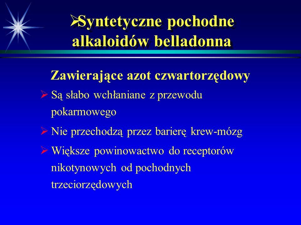  Inne leki o właściwościach antymuskarynowych   Leki przeciwhistaminowe   Leki przeciwdepresyjne (trójcykliczne)   neuroleptyki (chlorpromazyna