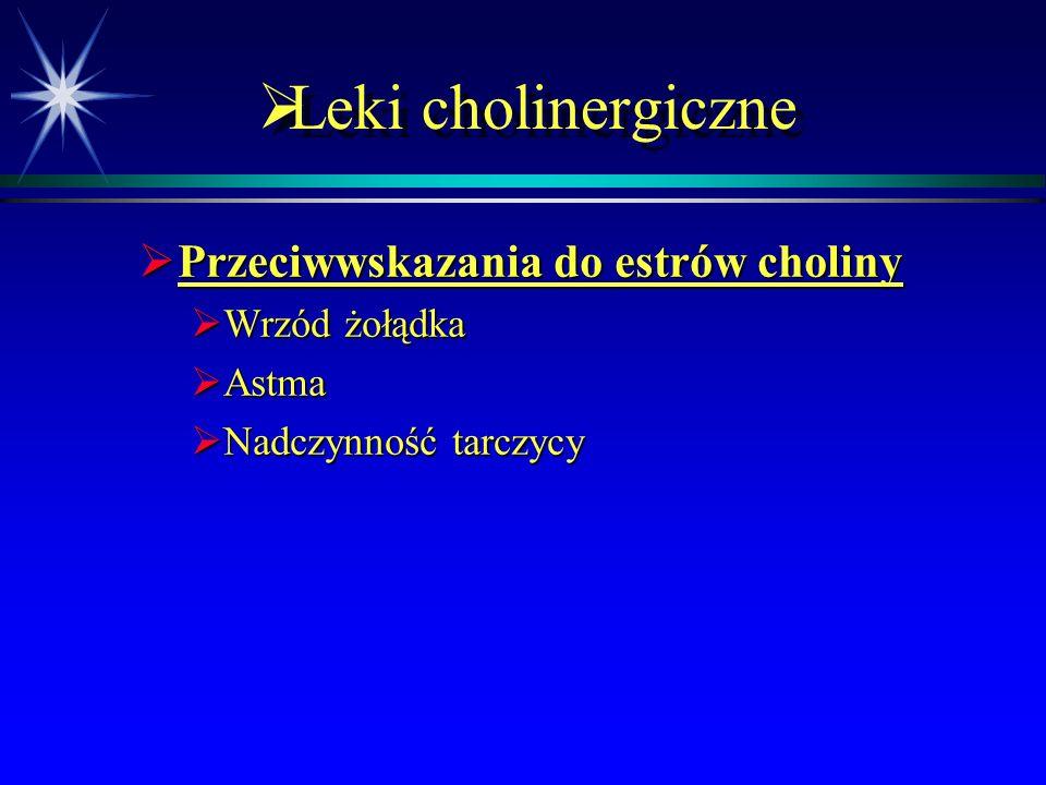  Parasympatykomimetyki  Toksyczność estrów kwasu fosforowego  Wysoka toksyczność  Ostre objawy – są związane z działaniem na receptory muskarynowe, nikotynowe i ośrodkowy układ nerwowy  Działanie na receptory muskarynowe (układ przywspółczulne) – skurcz oskrzeli i wzrost wydzielania oskrzelowego, potliwość, kurcze mięśniowe, zwężenie źrenicy, bradykardia