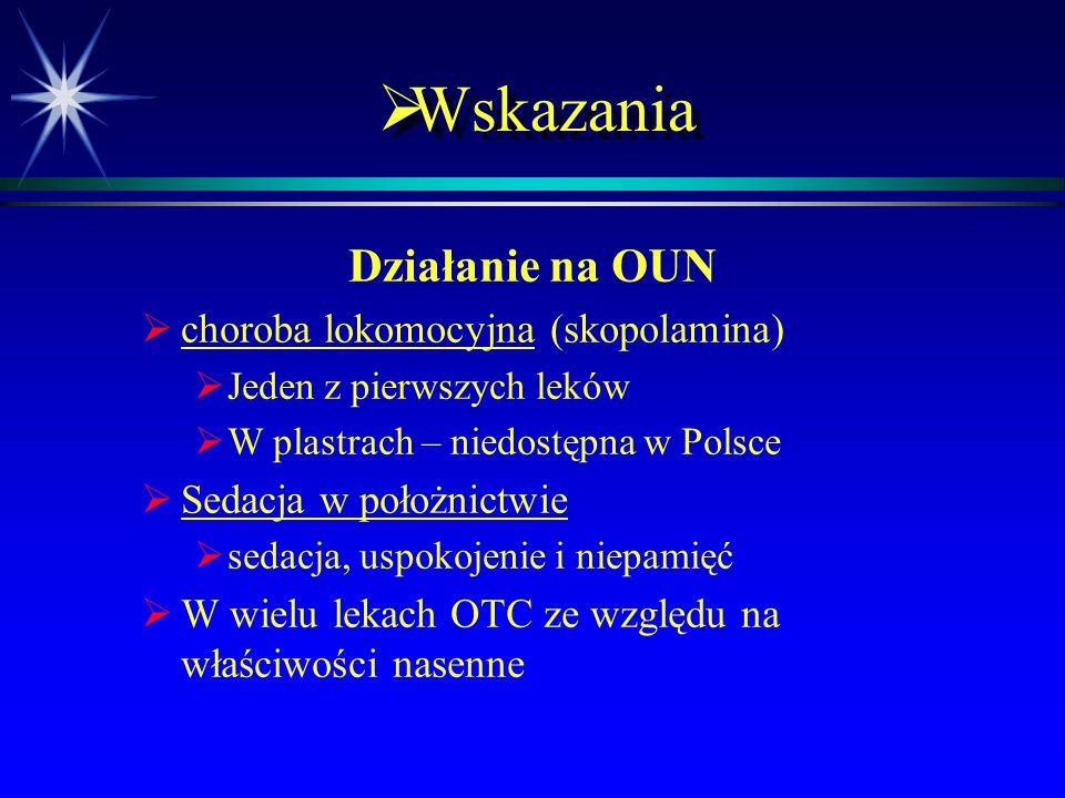  Wskazania Działanie na OUN   Zespół parkinsonowski po neuroleptykach (benztropina)   Zwłaszcza pochodnych fenotiazyny i butyrofenonu   Lewodop