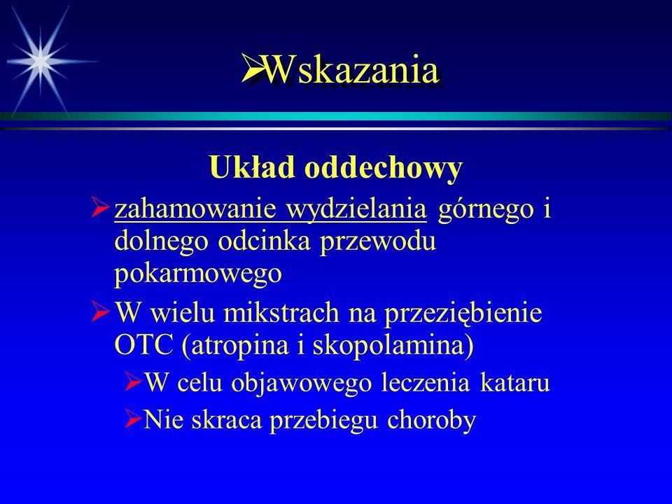  Wskazania Działanie na OUN   choroba lokomocyjna (skopolamina)   Jeden z pierwszych leków   W plastrach – niedostępna w Polsce   Sedacja w p