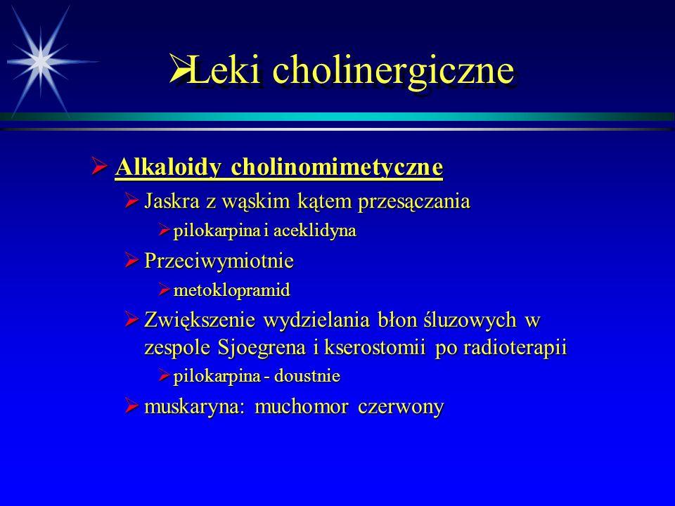  Leki cholinergiczne  Alkaloidy cholinomimetyczne  Jaskra z wąskim kątem przesączania  pilokarpina i aceklidyna  Przeciwymiotnie  metoklopramid  Zwiększenie wydzielania błon śluzowych w zespole Sjoegrena i kserostomii po radioterapii  pilokarpina - doustnie  muskaryna: muchomor czerwony