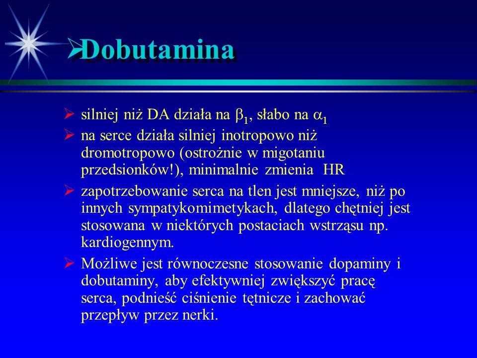  Dopamina  DA może działać na receptory adrenergiczne  Istnieją specyficzne receptory DA  Mózg  Naczynia nerek i jelit  Kilka podtypów  Wskazan
