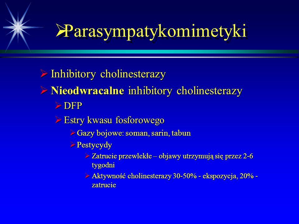  Parasympatykomimetyki  Inhibitory cholinesterazy  Nieodwracalne inhibitory cholinesterazy  DFP  Estry kwasu fosforowego  Gazy bojowe: soman, sarin, tabun  Pestycydy  Zatrucie przewlekłe – objawy utrzymują się przez 2-6 tygodni  Aktywność cholinesterazy 30-50% - ekspozycja, 20% - zatrucie