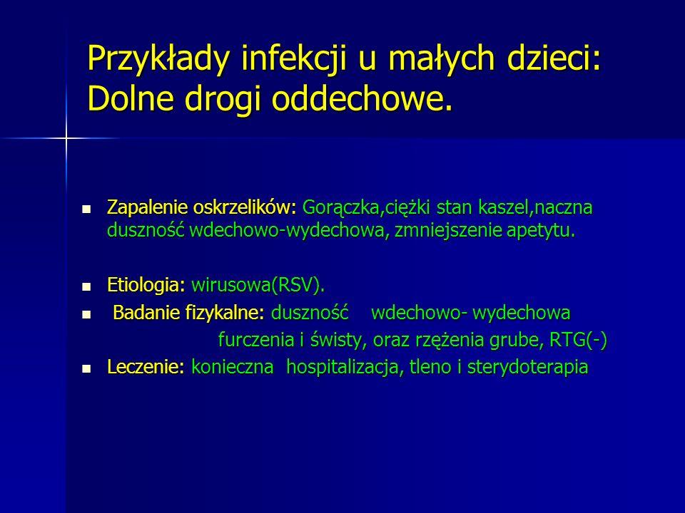 Przykłady infekcji u małych dzieci: Gorączka trzydniowa: Gorączka, kaszel,, zmniejszenie apetytu.