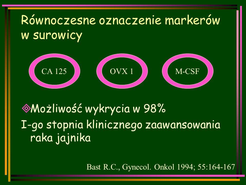 Równoczesne oznaczenie markerów w surowicy  Możliwość wykrycia w 98% I-go stopnia klinicznego zaawansowania raka jajnika Bast R.C., Gynecol.