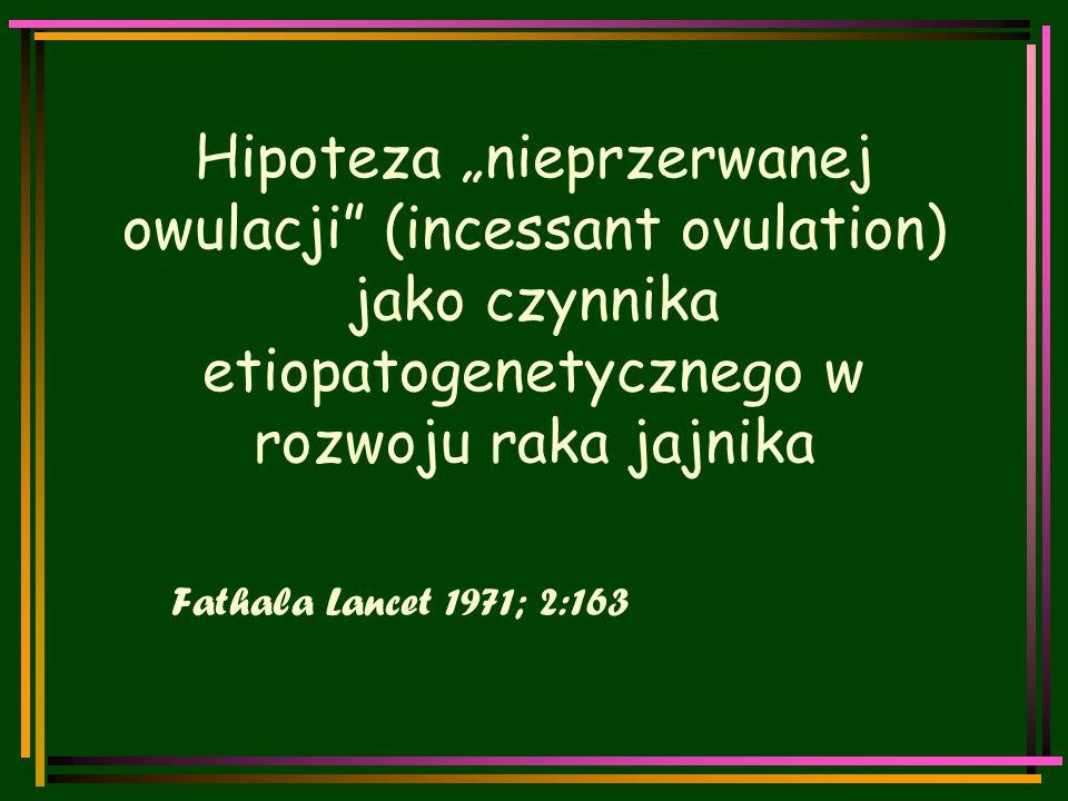 """Hipoteza """"nieprzerwanej owulacji (incessant ovulation) jako czynnika etiopatogenetycznego w rozwoju raka jajnika Fathala Lancet 1971; 2:163"""