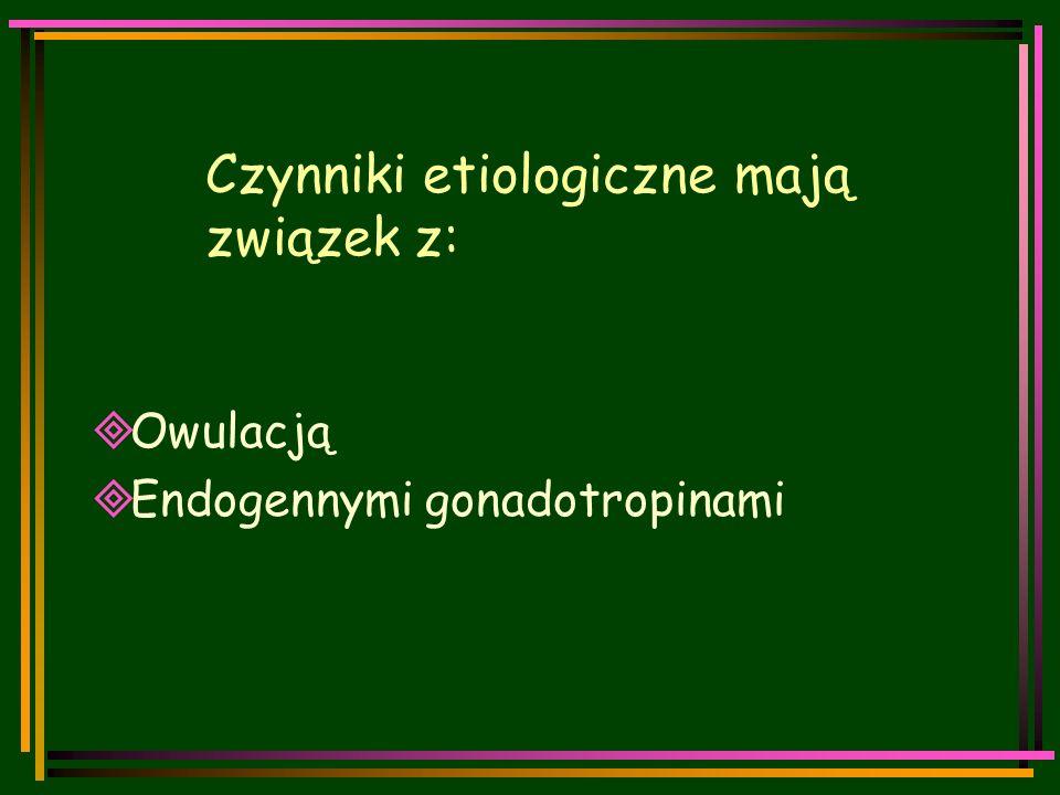 Czynniki etiologiczne mają związek z:  Owulacją  Endogennymi gonadotropinami